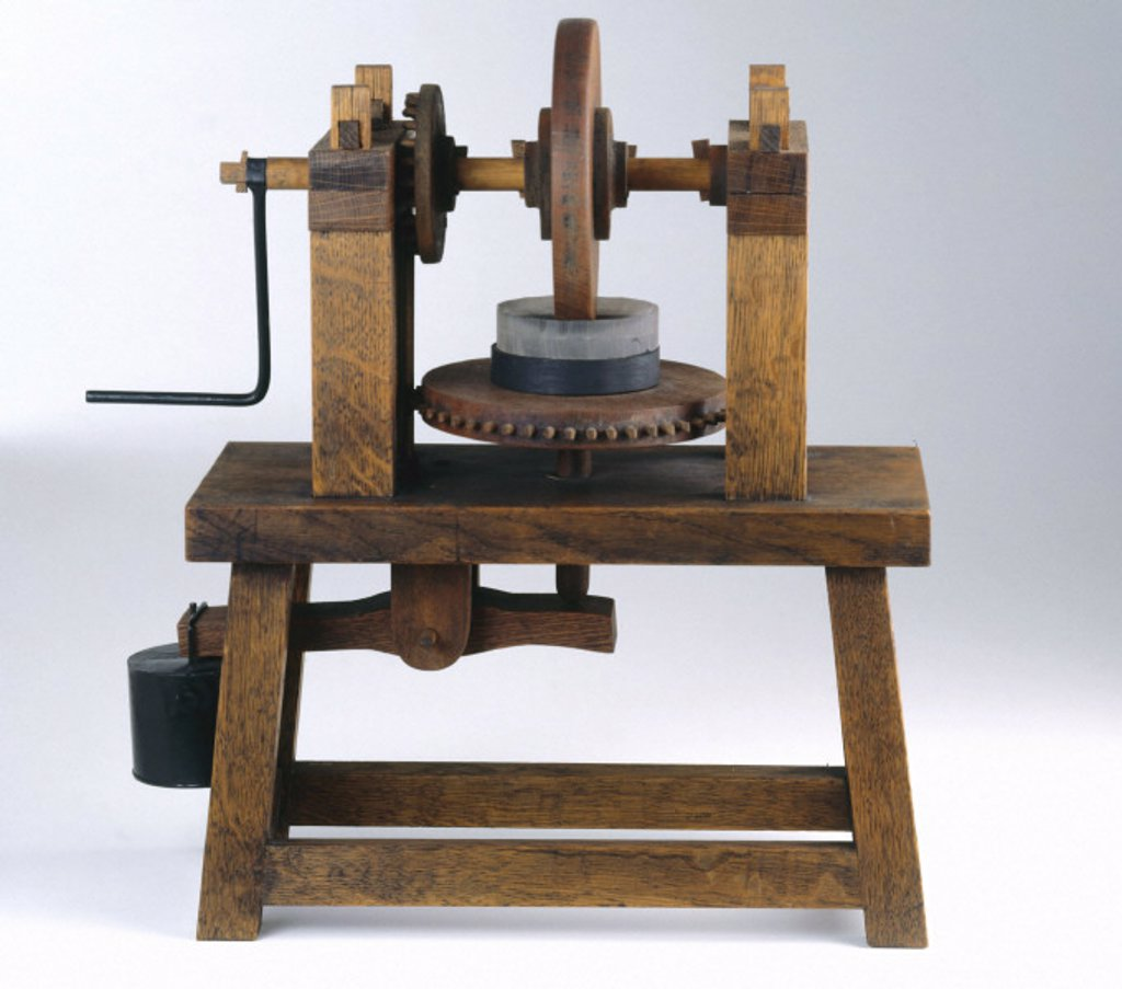 Machine for grinding concave mirrors, c 1500. : Stock Photo
