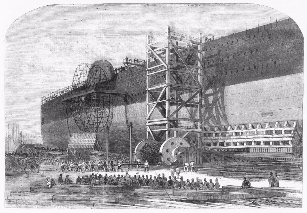 Launching gear used for ´Great Eastern´, 1857. : Stock Photo