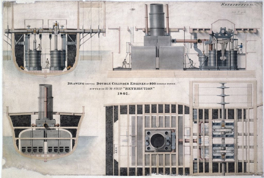 Stock Photo: 1895-15175 800 hp double cylinder engines fitted to HMS ´Retribution´, 1842.