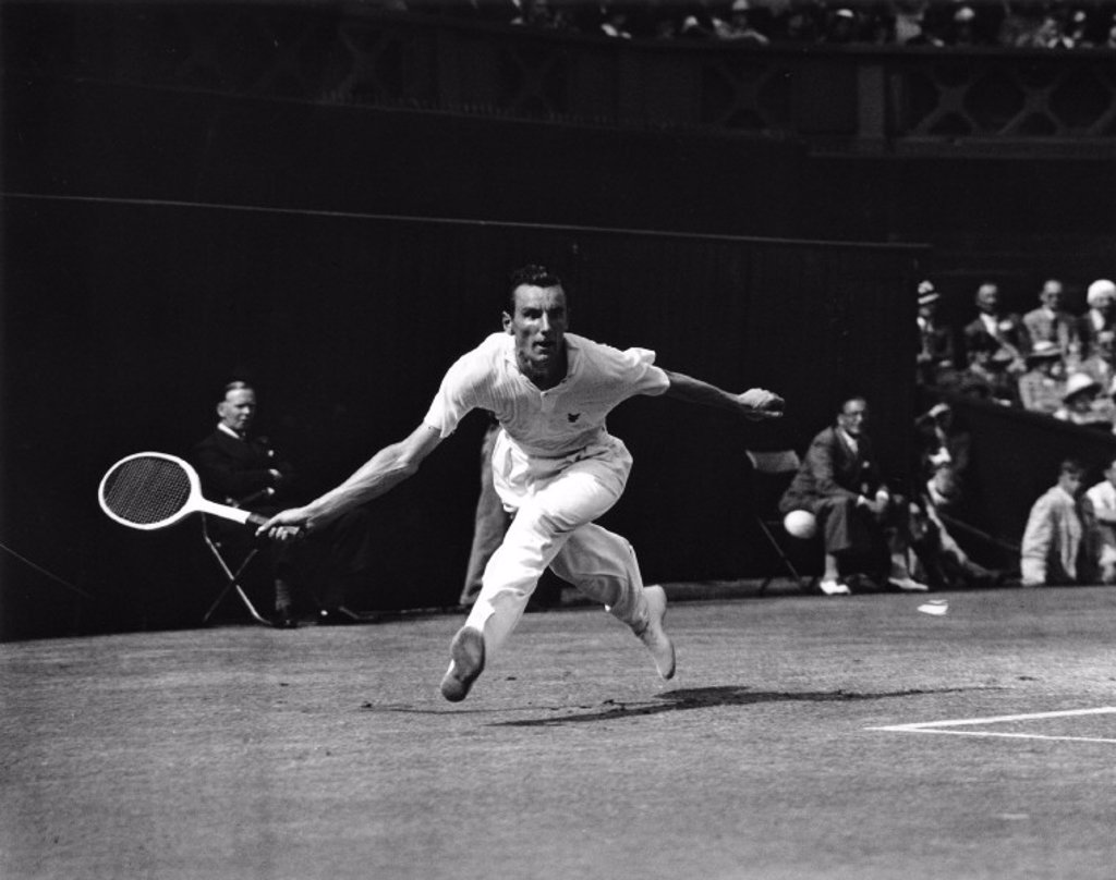 Stock Photo: 1895-15238 Tennis player Fred Perry in action during Wimbledon, 5 July 1935.