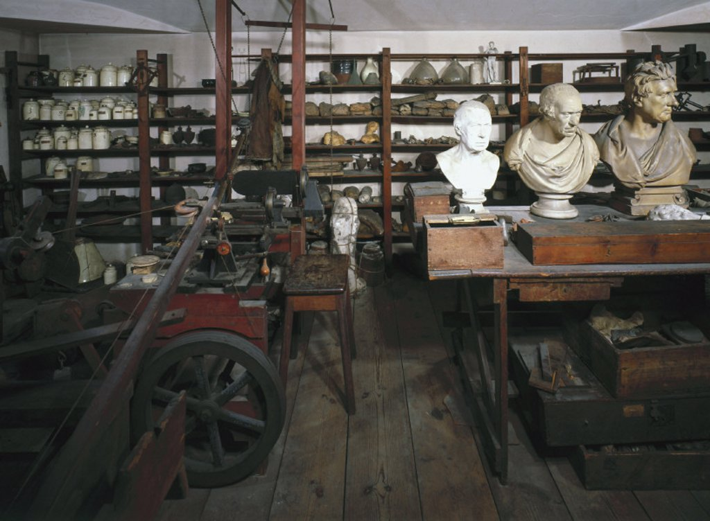 The workshop of James Watt, Scottish engineer, 1790. : Stock Photo