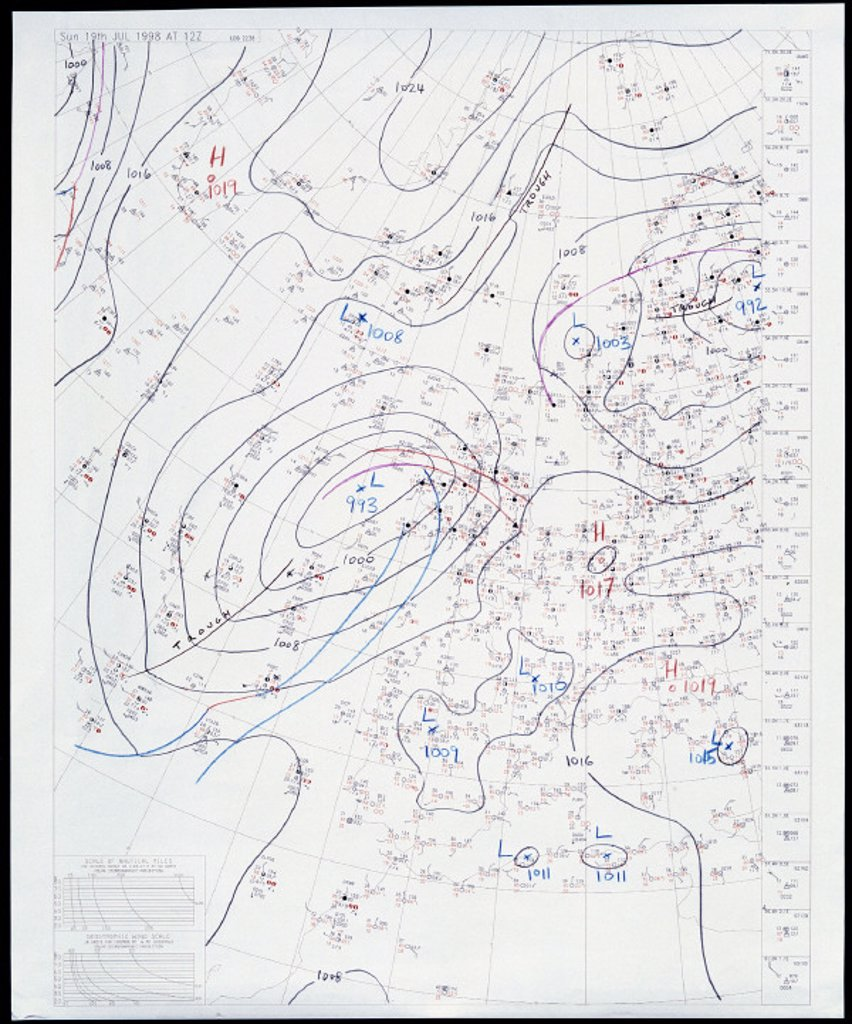 Weather chart, 19 July 1998. : Stock Photo