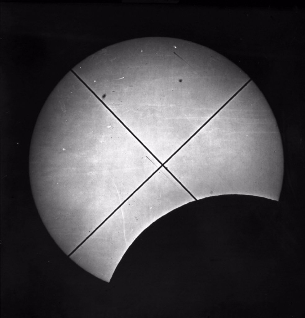 Partial eclipse of the sun, 16 July 1860. : Stock Photo