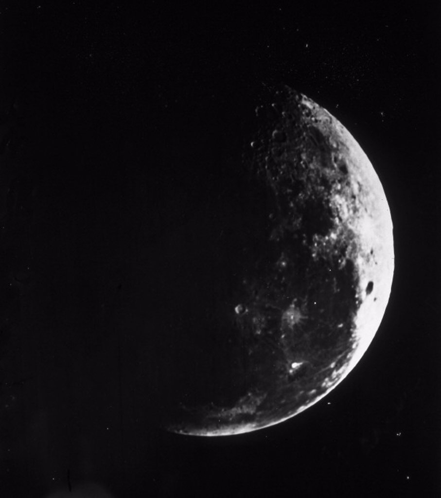 A first quarter Moon, c 1860. : Stock Photo