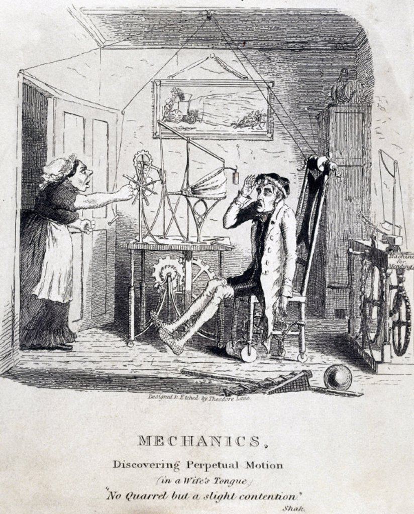 ´Mechanics: Discovering Perpetual Motion (in a Wife´s Tongue)´, c 1830s. : Stock Photo