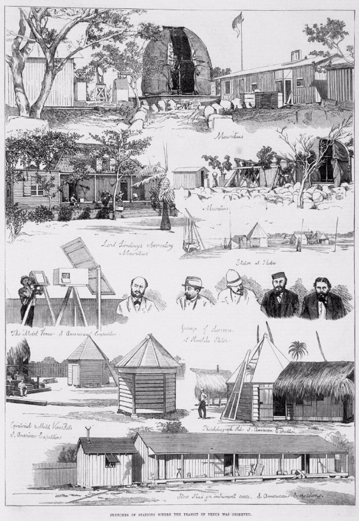 'Sketches of Stations where the Transit of Venus was Observed', 1874. : Stock Photo