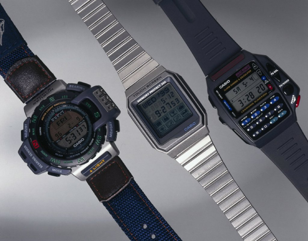 Stock Photo: 1895-16221 Three Casio digital watches, 1990s.