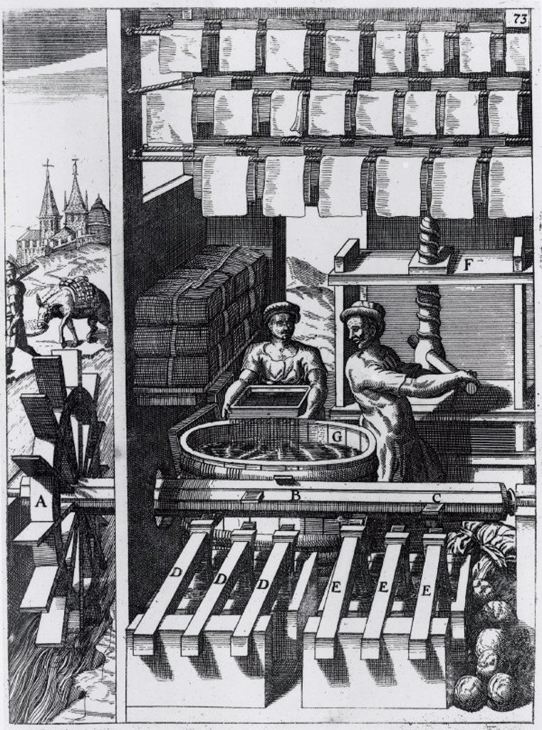 Stock Photo: 1895-16322 Papermaking, 1662.