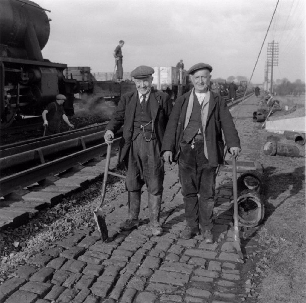 Railway workers, c 1950s. : Stock Photo