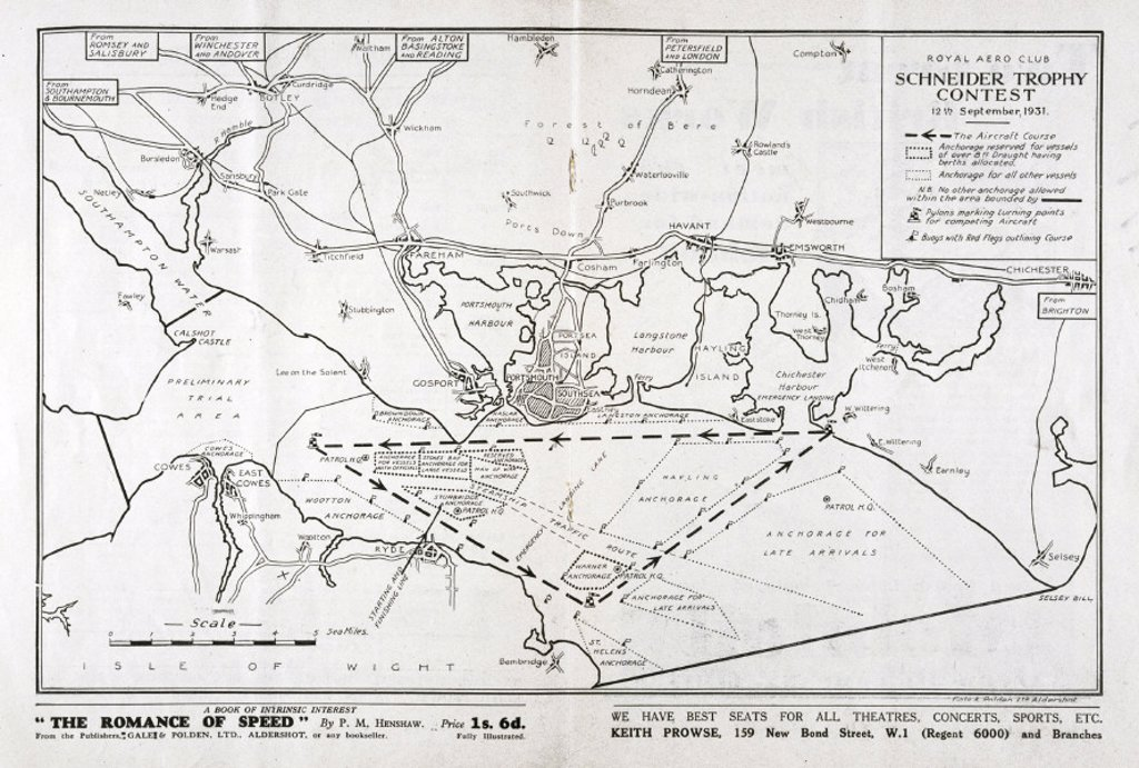 Stock Photo: 1895-16443 Route of the Schneider Trophy contest, Hampshire, September 1931.