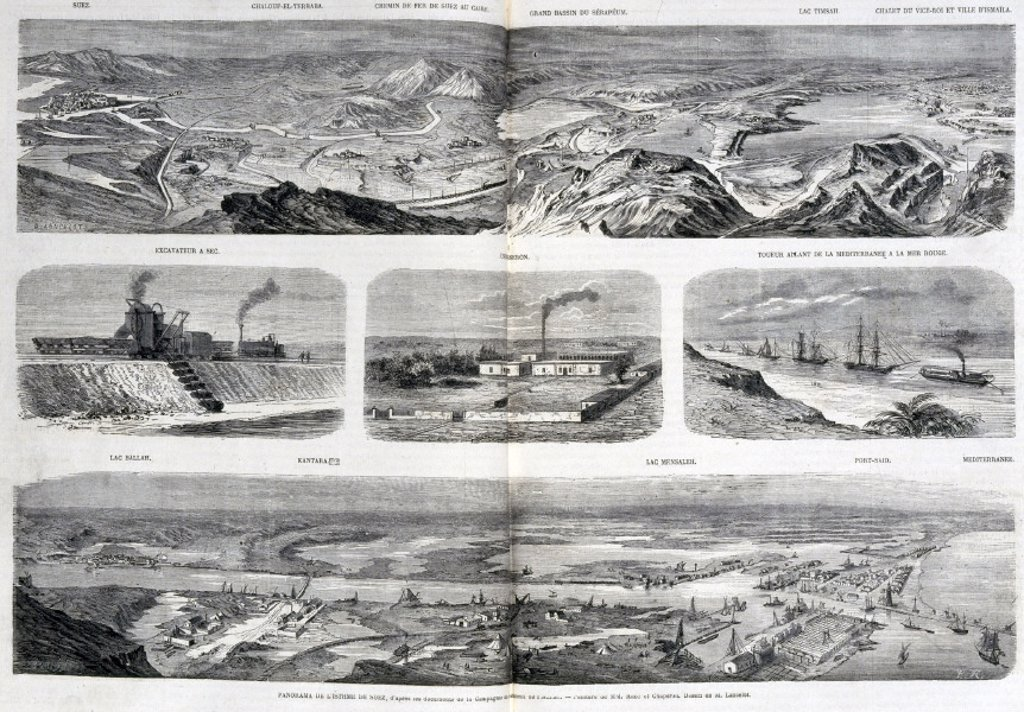 Views of the Suez Canal, Egypt, 1867. : Stock Photo