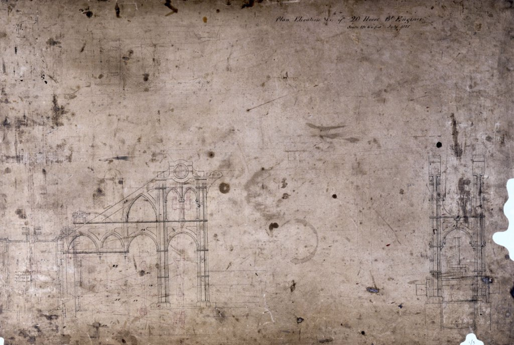 Side lever engine plan for a 20 hp engine, July 1825. : Stock Photo