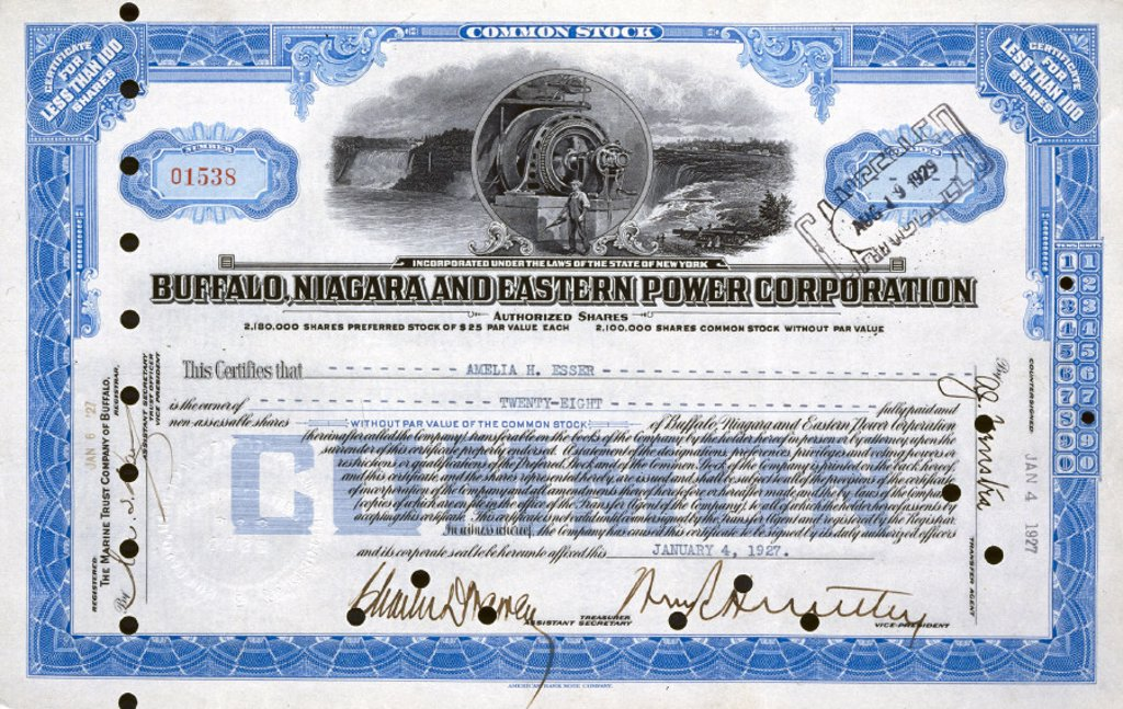 Share certificate, 1927. : Stock Photo