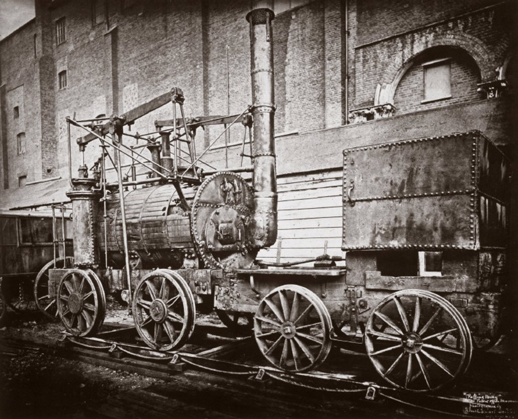 ´Puffing Billy´ steam locomotive, outside the Patent Museum, London, 1876. : Stock Photo