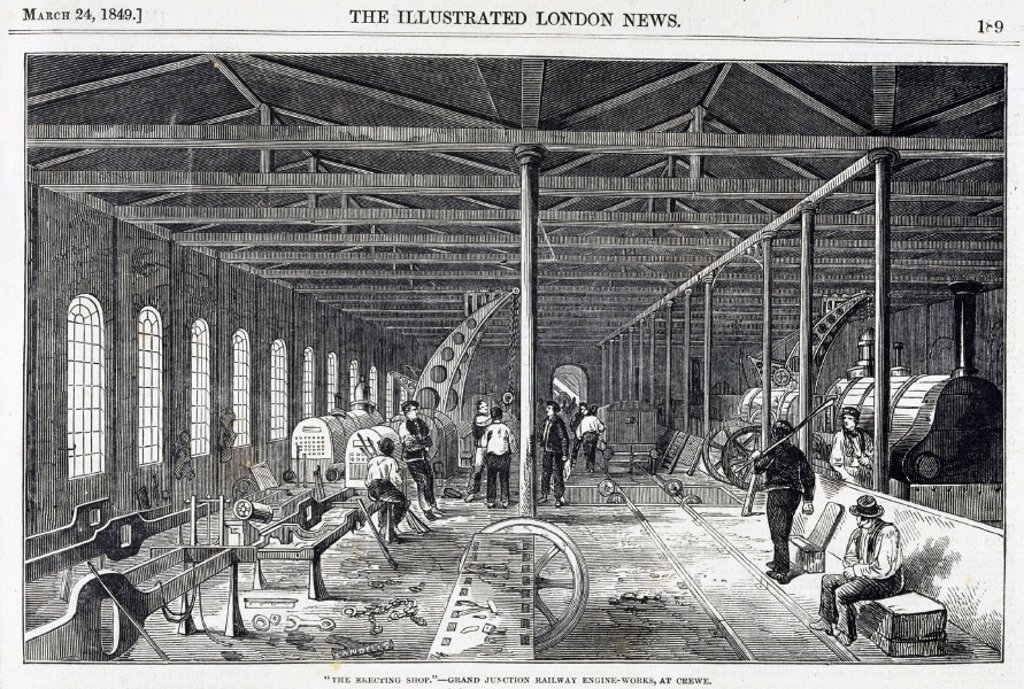 The erecting shop at the Grand Junction Railway engine-works, Crewe, 1849 : Stock Photo