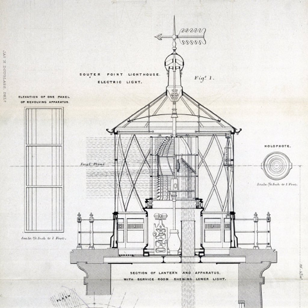 Stock Photo: 1895-17853 Souter Point lighthouse lamp, 1879.