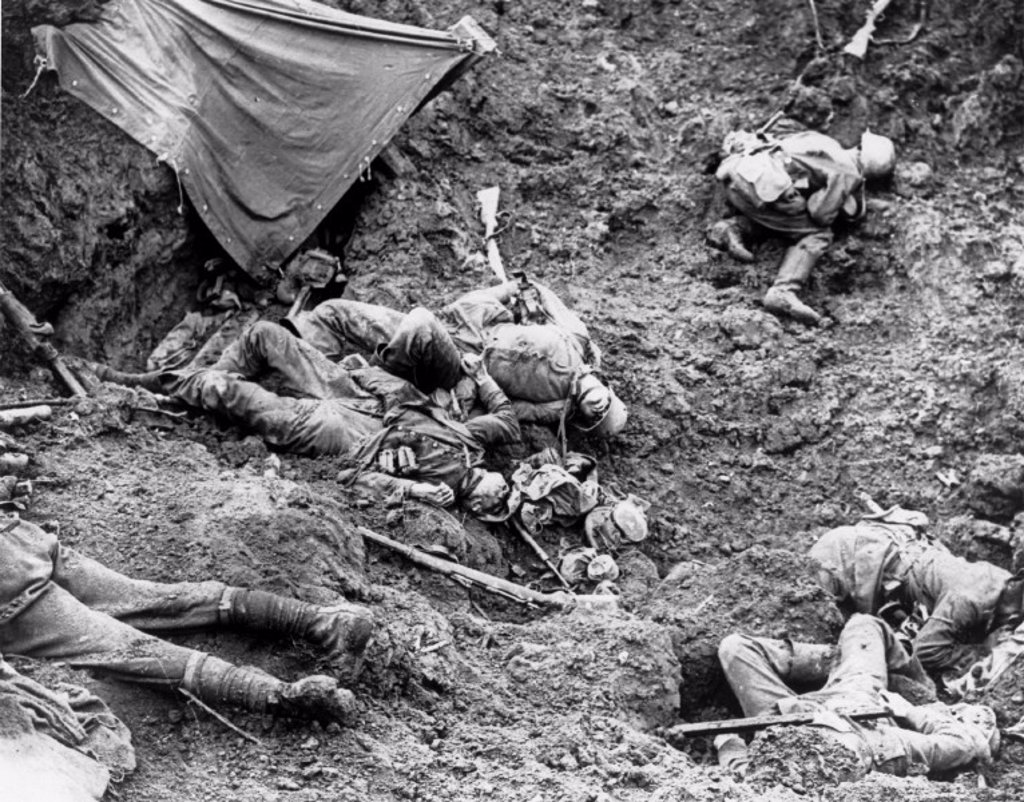 German dead at the Battle of Pilckem Ridge, 31 July 1917. : Stock Photo