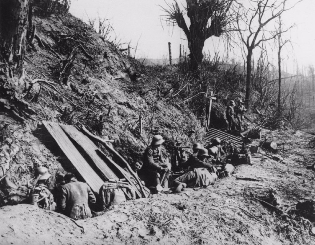 German troops entrenched on Mount Kemmel, May 1918. : Stock Photo