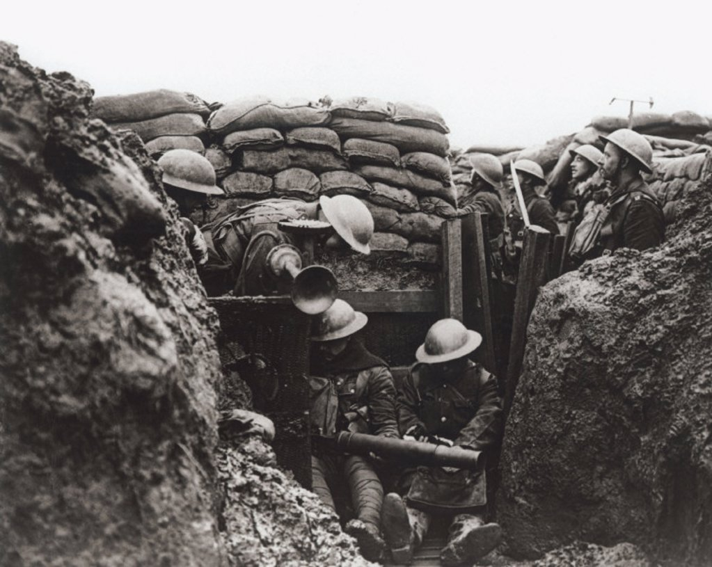 Stock Photo: 1895-18001 Lancashire Fusiliers in a front line trench, France, January 1917.