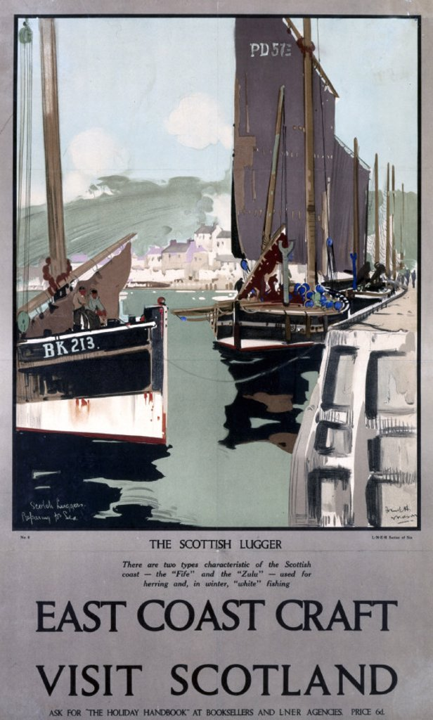 Stock Photo: 1895-1808 ´East Coast Craft', LNER poster,