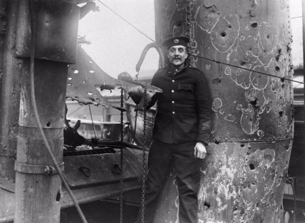 Private Shirvell of the Royal Marines following the Zeebrugge Raid, 1918. : Stock Photo