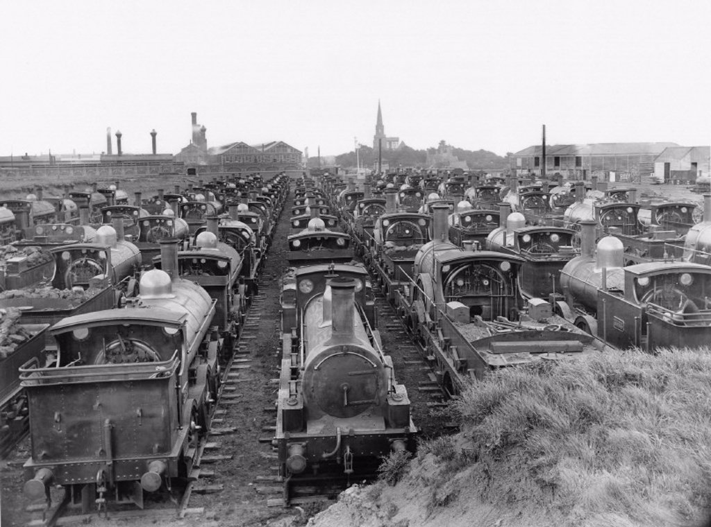 GWR broad gauge locomotives, Swindon Works, Wiltshire, 1892. : Stock Photo