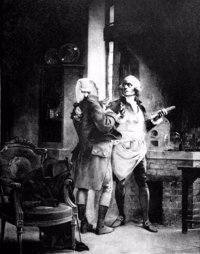 Stock Photo: 1895-18170 Antoine Lavoisier with Claude Louis Berthollet, French chemists, c 1780s.