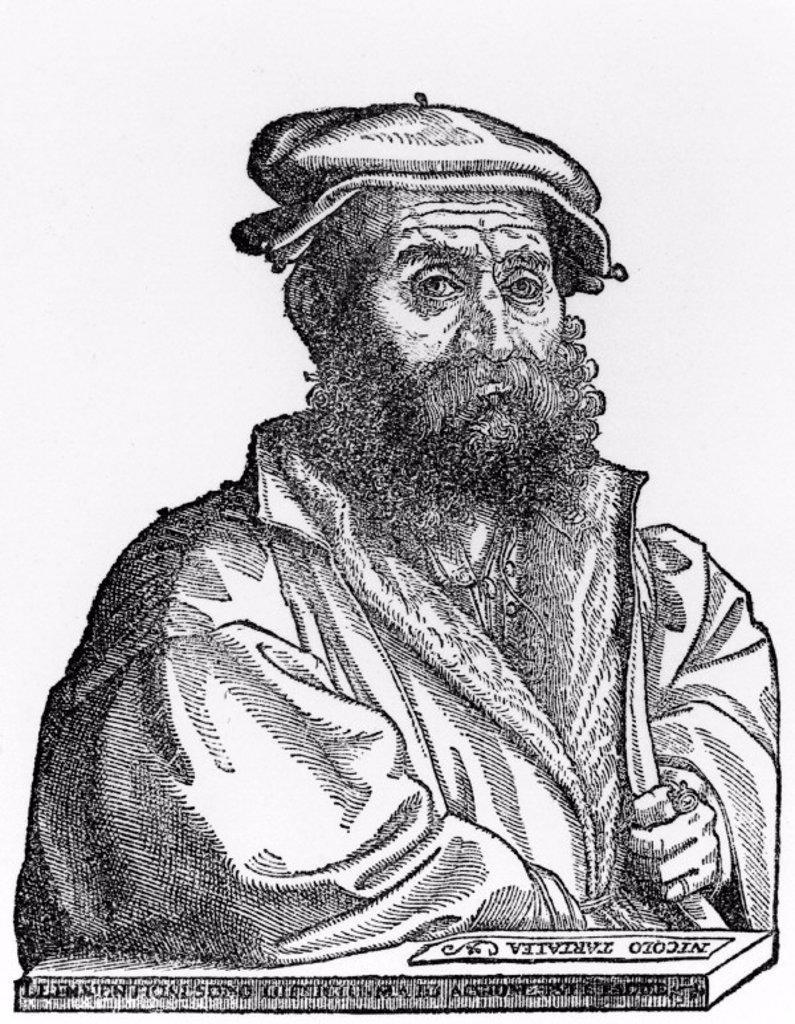 Niccolo Tartaglia, Italian mathematician and mechanician, c 1550-1560. : Stock Photo