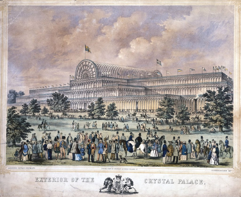 'Exterior of the Crystal Palace from Kensington Gardens', 1851. : Stock Photo