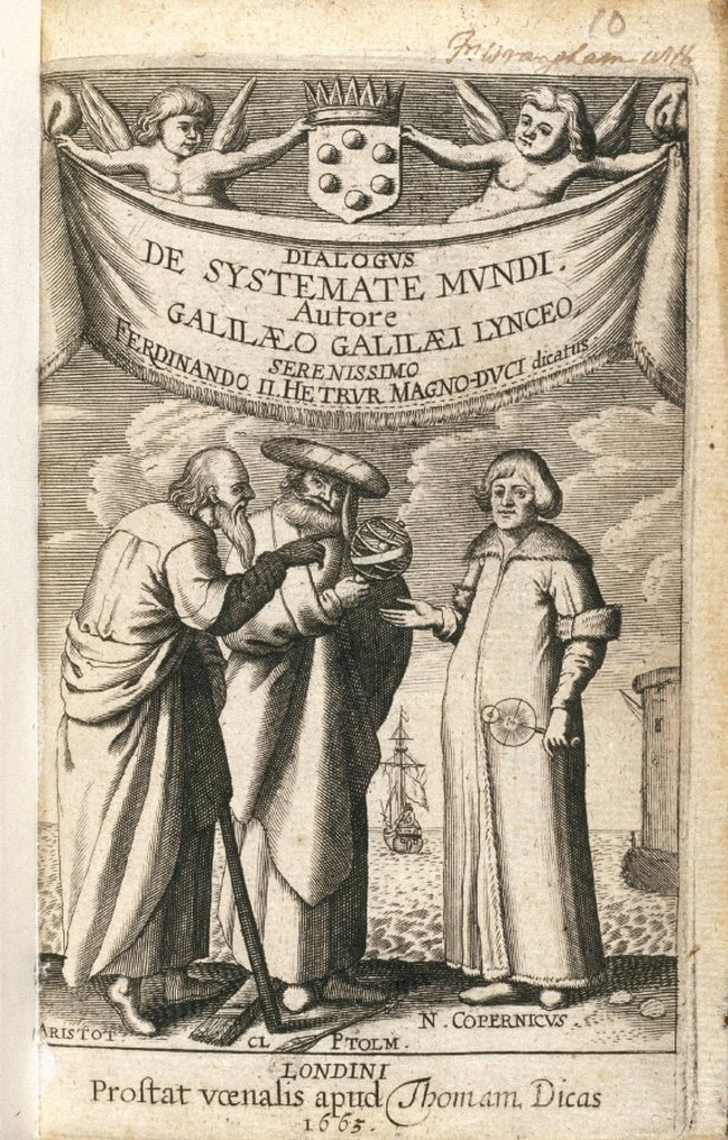 Frontispiece of ´Cosmic System´ by Galileo, 1663. : Stock Photo