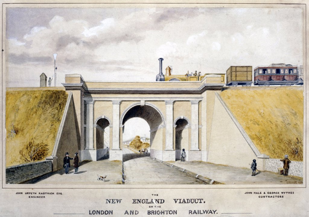 The New England Viaduct, 1857. : Stock Photo