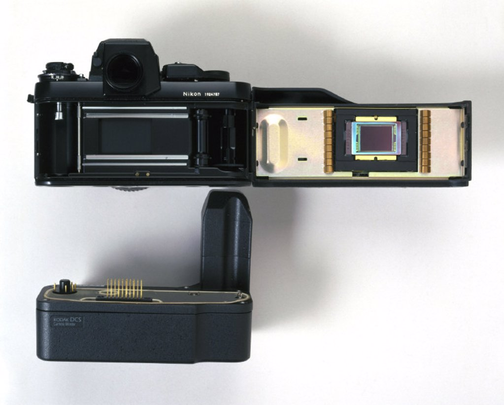 Kodak DCS fitted to Nikon F3 camera, 1990s. : Stock Photo