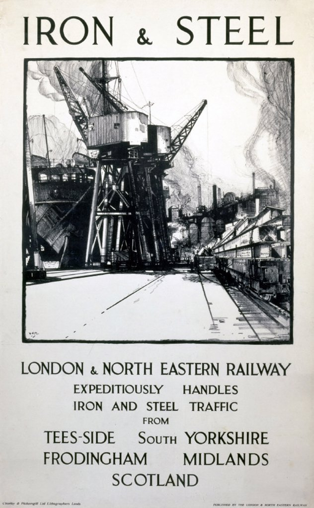 ´Iron & Steel´, LNER poster, 1938. : Stock Photo