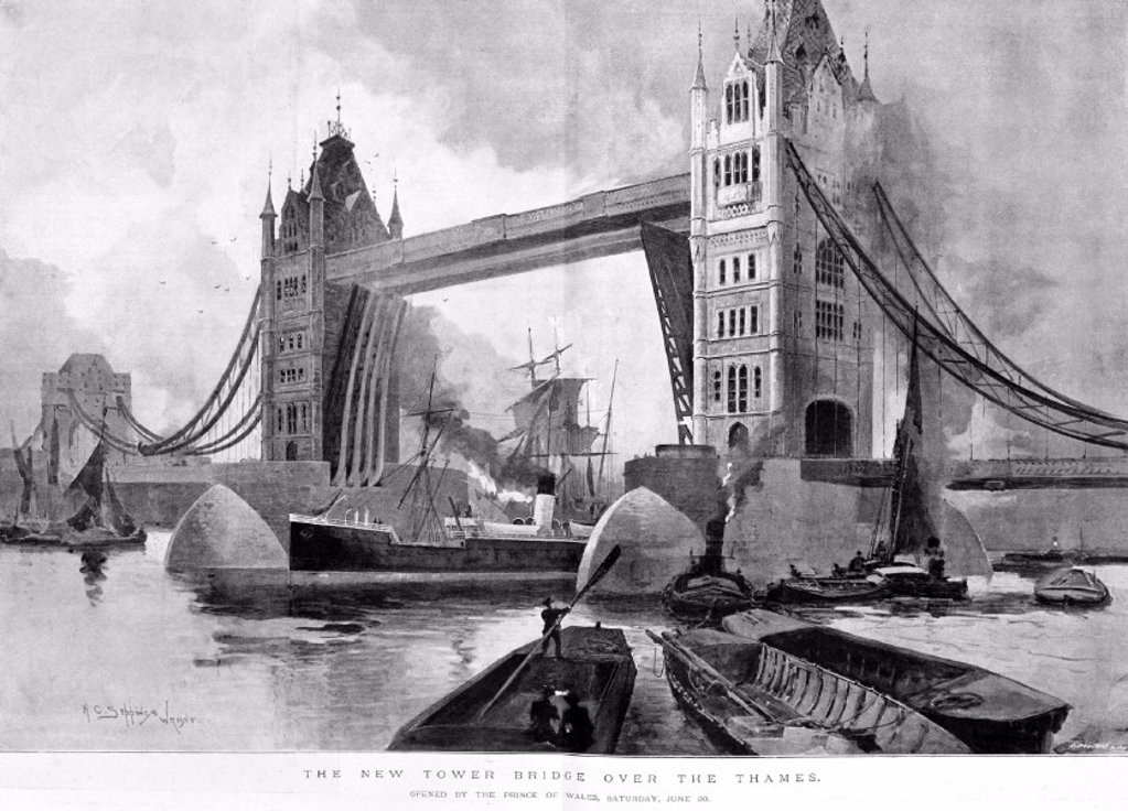 ´The New Tower Bridge over the Thames', 1894. : Stock Photo