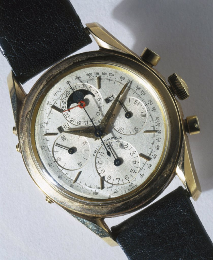 ´Tri-Compax´ calendar chronograph wristwatch, c 1955-1960. : Stock Photo