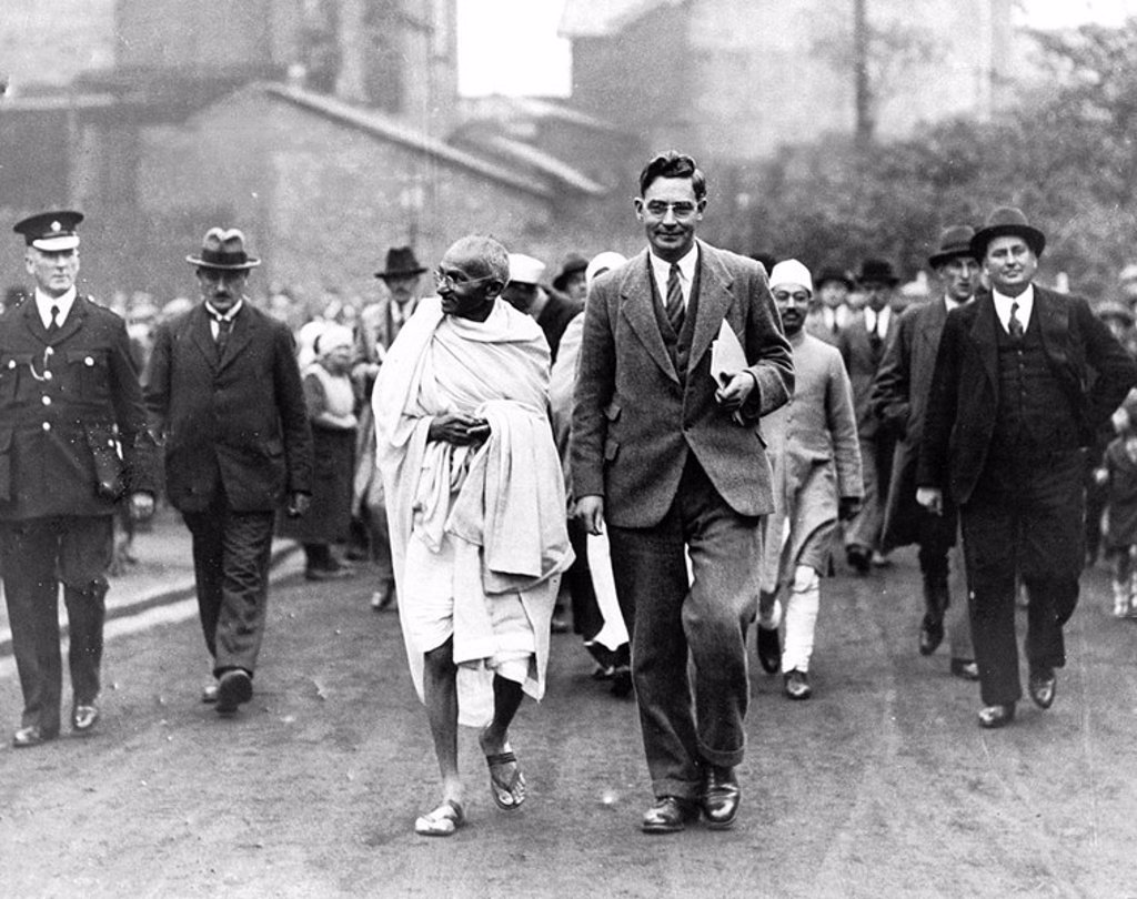 Stock Photo: 1895-19687 Mahatma Gandhi on an official tour, 1931