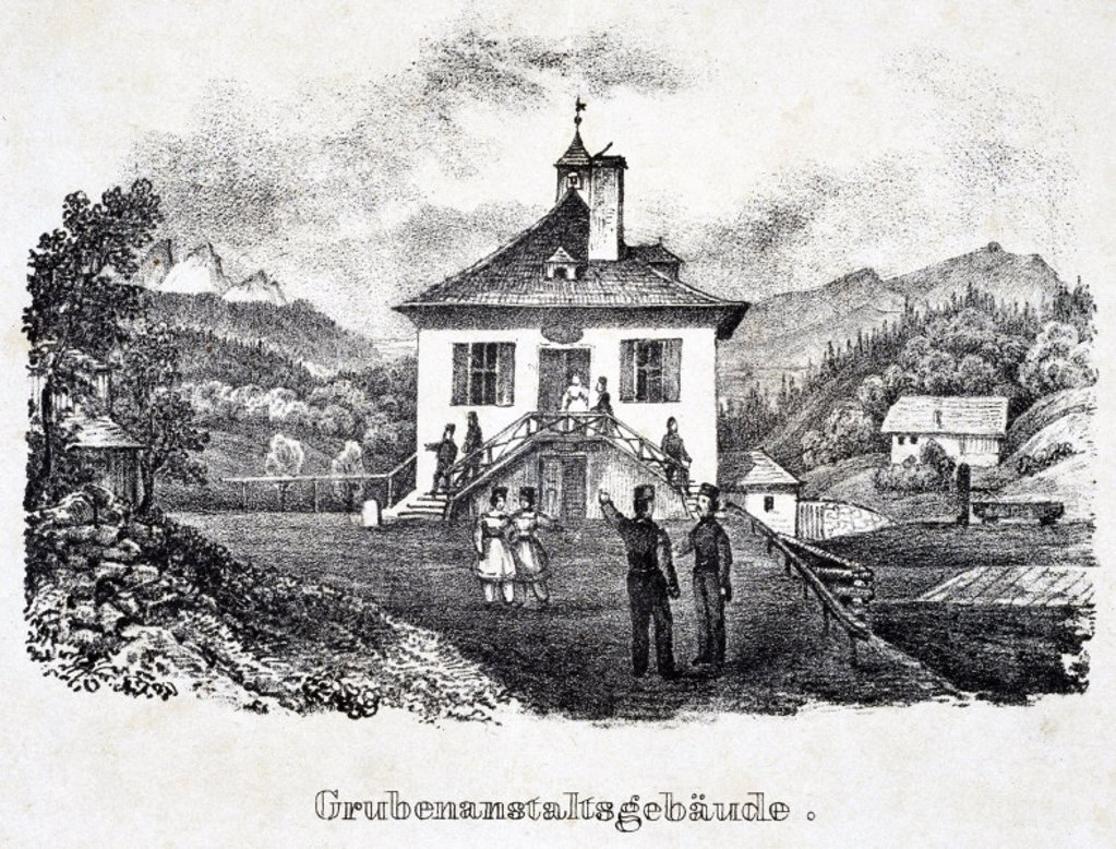 Stock Photo: 1895-19817 ´The Mining Establishment Buildings', Durrnberg, Austria, 19th century.