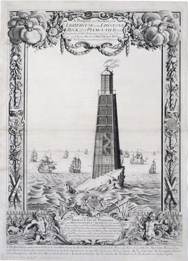 The second Eddystone lighthouse, Devon, 1708. : Stock Photo
