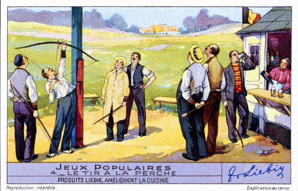 Outdoor archery event, early 20th century. : Stock Photo