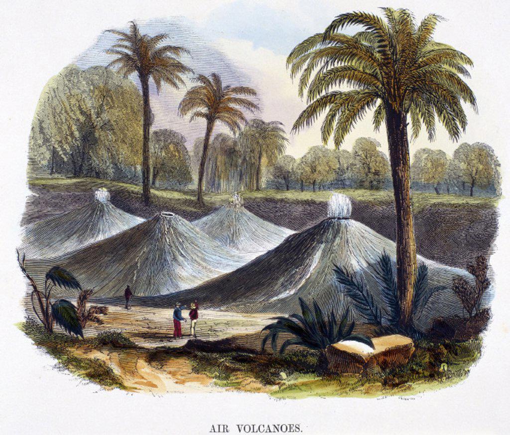 ´Air volcanoes´, near Carthagena, Columbia, 1849. : Stock Photo