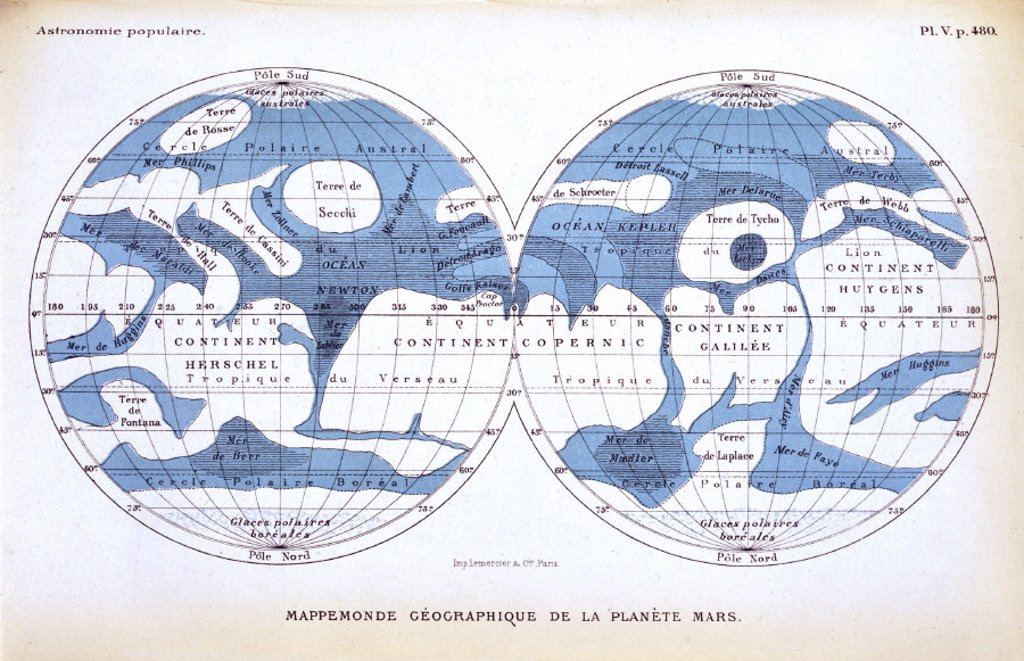 The planet Mars, 1880. : Stock Photo