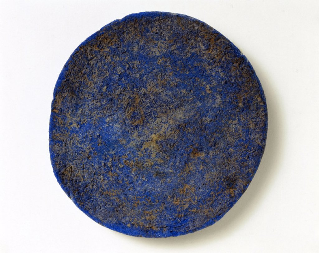 Disc of blue frit, c 1500 BC. : Stock Photo