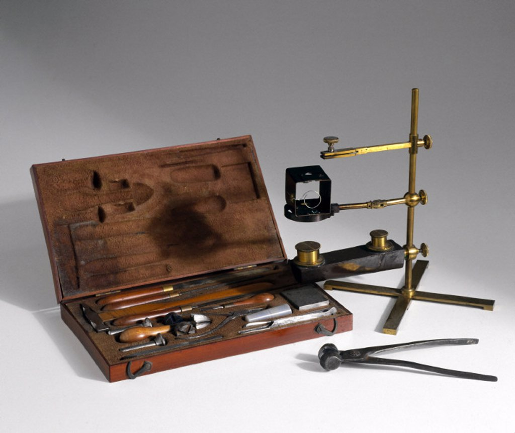Metallurgical analysis equipment, 19th century. : Stock Photo