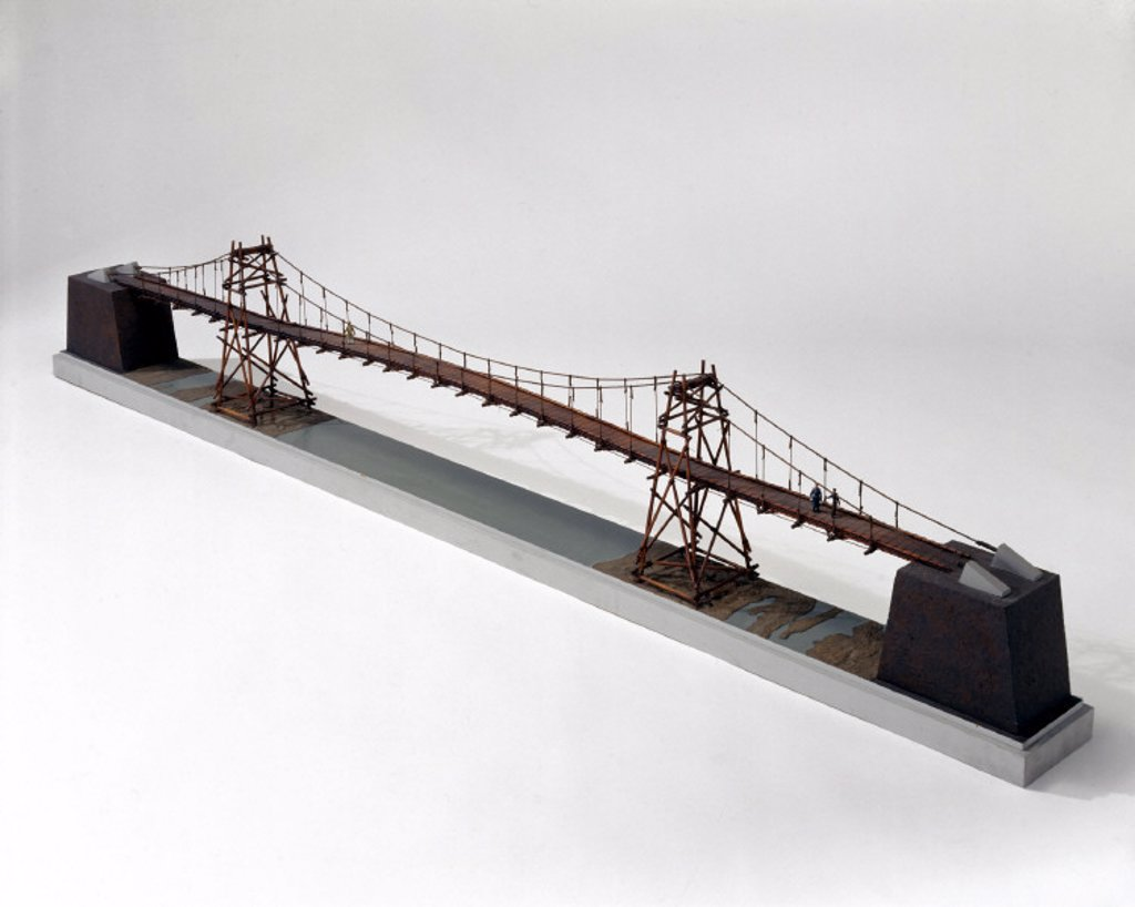 Stock Photo: 1895-20499 Chinese rope and span suspension bridge.