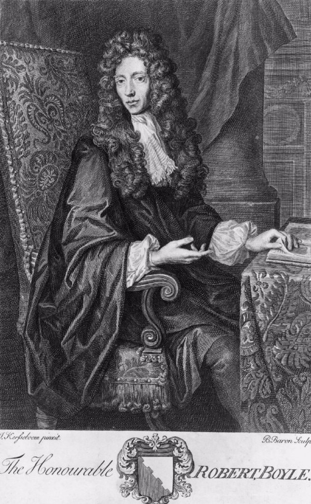 Robert Boyle, Irish physicist and chemist, c 1670s. : Stock Photo
