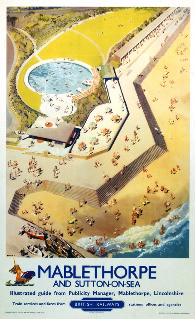 Stock Photo: 1895-20646 ´Mablethorpe and Sutton-on-Sea´, BR (ER) poster, 1956.