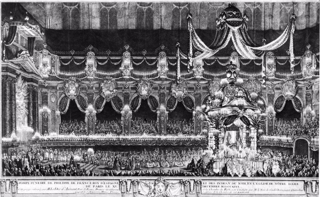 Funeral of King Philip V of Spain, 1746. : Stock Photo