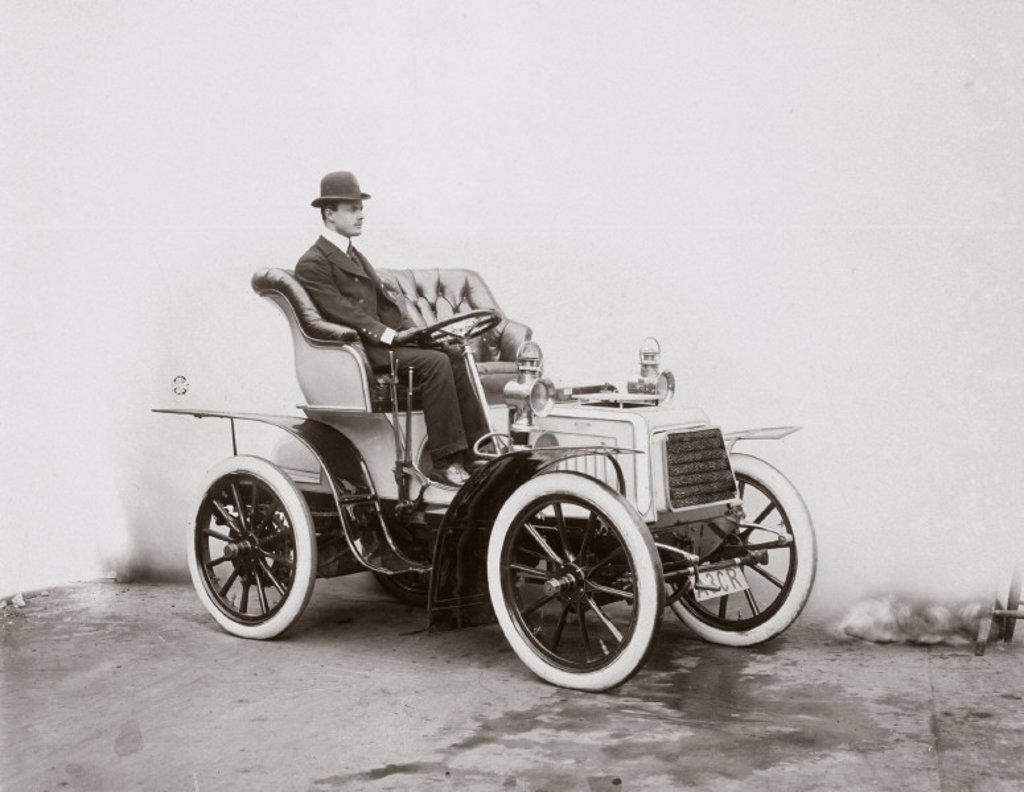 Stock Photo: 1895-20893 C S Rolls in his 7 hp Panhard motor car, 1903.