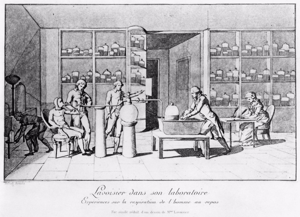 Antoine Lavoisier in his laboratory, 18th century. : Stock Photo