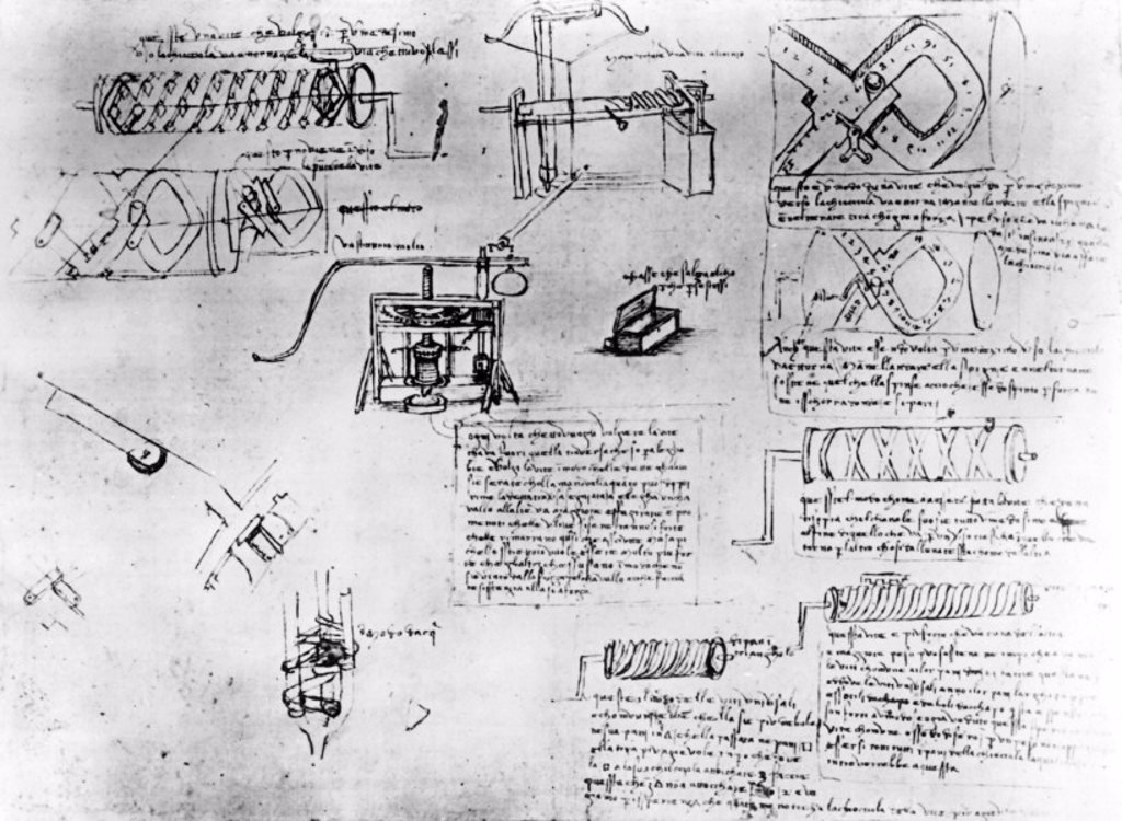 Design for screw-cutting lathe from Leonardo da Vinci's notebooks, c 1500. : Stock Photo